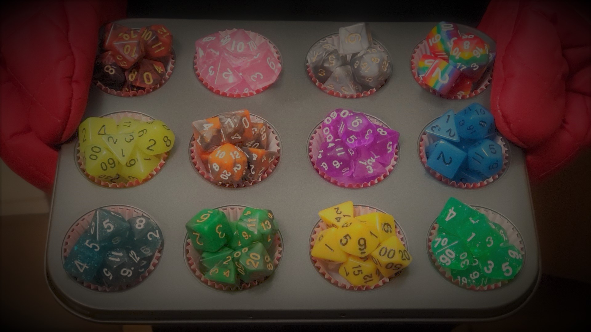 Cupcake tray of dice